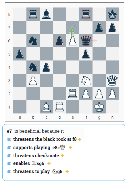 Move 27.e7 from Ding-Duda, 2018 Batumi Chess Olympiad